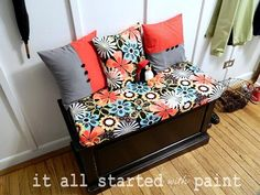 perfect for my cedar chest-repaint cedar chest and make a cute cushion and recover pillows