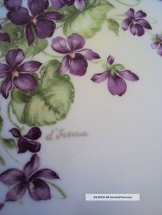 vintage_violets_dish_imperial_germany_hand_decorated_and_hand_signed Watercolor Cards, Watercolor Paintings, Illustration Blume, Flower Cart, Sweet Violets, China Painting, Floral Illustrations, Pictures To Paint, Pansies