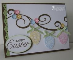 I saw a similar card made by Marie Glath and just had to case it. You can see why! I used the Swirly Sizzlit Decorative Strip die for the Soft Suede swirls. The Easter Eggs from the Easter Blossoms stamp set are stamped in Classic ink, cut out and popped up on dimensionals. I added two-way glue and Dazzling Diamonds glitter to them along with pretty bows. See the little flowers? They're punched using the Itty Bitty Shapes punch pack....