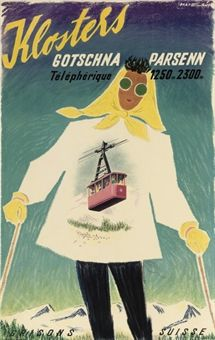 vintage ski poster. BARBERIS, FRANCO (1905-1992) KLOSTERS lithograph in colours, c.1950