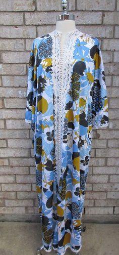 Muumuu Caftan Blue and Mustard Yellow Flower Print Added Trim Embellishment  #Handmade #Caftan #Casual