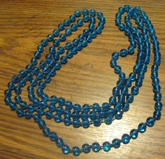 Vintage Rope of Chinese Peking Blue Glass Beads, Continuous Necklace. Silk Knots