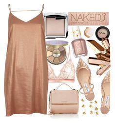 """""""Metallic look"""" by marias1808 ❤ liked on Polyvore featuring Livingly, tarte, Hourglass Cosmetics, Fleur of England, Jimmy Choo, River Island, NYX, Givenchy, Reflections and Essie"""