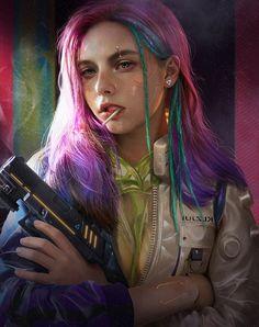 """土味炫酷赛博朋克 (Earthy cool cyberpunk)"" by song -_- on ArtStation Cyberpunk 2077, Cyberpunk Kunst, Cyberpunk Girl, Cyberpunk Fashion, Cyberpunk Tattoo, Steampunk Fashion, Gothic Fashion, Character Inspiration, Character Art"
