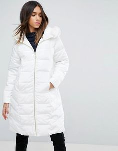 ASOS Longline Puffer Coat with Faux Fur Trim Hood - White