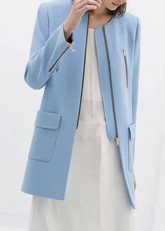 Design Long Sleeve Blue Zip Fly Trench Coat - Blue