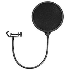 Neewer NW(B-3) 6 inch Studio Microphone Mic Round Shape Wind Pop Filter Mask Shield with Stand Clip (Black Filter)