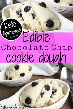 This keto diet approved recipe is SO good! Edible (no baking required!) Keto Chocolate Chip Cookie Dough is the perfect keto dessert, keto snack, or even a keto breakfast if you want! Ketogenic dieters, you'll want to try this easy keto recipe. #keto #ketodiet #ketorecipes #ketoapproved via @heavenlyrecipe