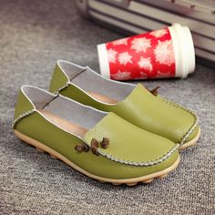 Big Size Comfortable Soft Casual Leather Multi-Way Flat Shoes