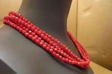 VINTAGE MIRIAM HASKELL SIGNED NECKLACE-5 STRAND FACETED BRIGHT RED BEADS