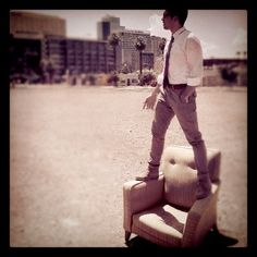 Our Sustainability Coordinator on an amazing chair he found in the middle of Phoenix. What a great find Keith!