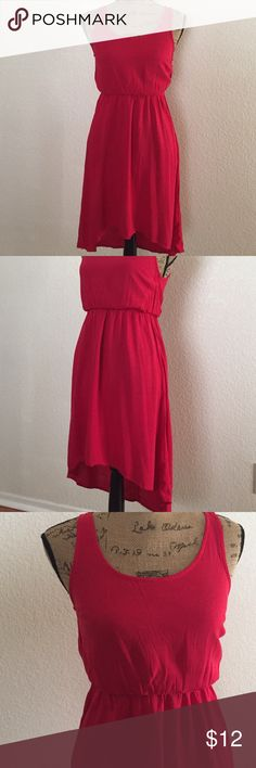 RED DRESS HI LOW❤️ Red short sleeve hi low dress.. very cute a lil stain behind the skirt wear it once very cute match it with jackets & cardigans all great condition just the stain un noticeable Papaya Dresses High Low