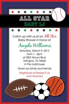 Sports themed baby shower invite