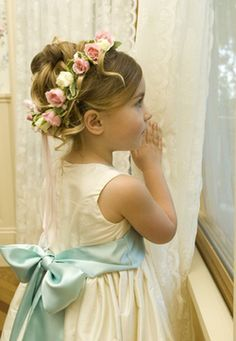 Mint Green and Pink Wedding Flower Girl. love the flowers