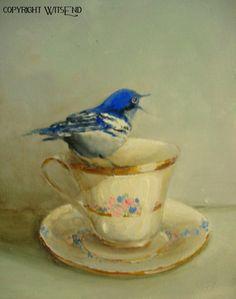 Bird Teacup painting Treasury item ooak original tea by 4WitsEnd