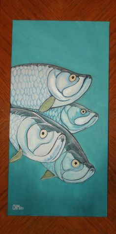 Items similar to Original acrylic painting of a school of tarpon, one of the top sportsfish in the world. on Etsy