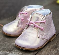 Emel Shiny Pink Lace Up Shoes (2345-4) Handmade girl first shoes