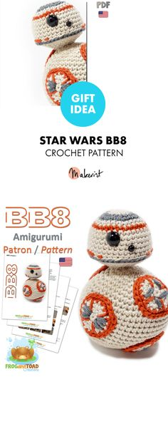 Star Wars - Crochet Pattern via Makerist (diy crochet toys kids) Bb8 Star Wars, Star Wars Crochet, Crochet Stars, Diy Crochet Toys, Crochet Animals, Baby Knitting Patterns, Crochet Patterns, Amigurumi Patterns, Knitted Christmas Decorations