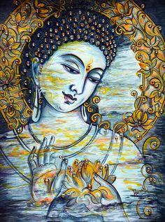 Buddha Peace, Buddha Art, Handmade Sheet, Bodhi Tree, Buddha Painting, Contemporary Paintings, Indian Art, Beautiful Paintings, Impressionist