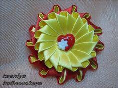 Мастер-класс цветочка пуговки. Канзаши.... фото #1
