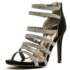 Qupid Black Silver Strappy Glitter Open toe Pump Stiletto Heels sz65 -- Be sure to check out this awesome product.