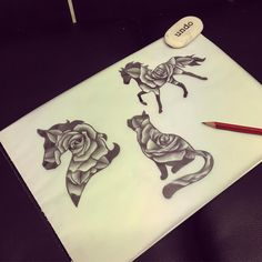 Next three animal roses designs! Horse head, cat and running horse! Love these #tattoo #tattoos #design