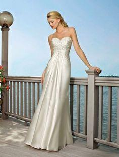 A-line Sweetheart Sweep / Brush Train Sleeveless Taffeta Beach Wedding Dress For Brides