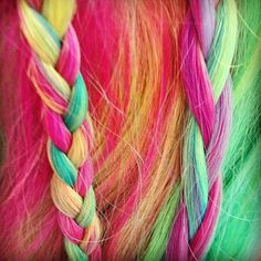 Rainbow hair, so cute- I so would have rocked this in the 80's!