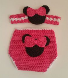 Gift Set Girl Mouse Diaper Cover & Headband Watermelon Pink 6 Mos