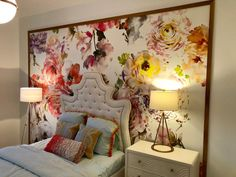 So Clever: How Cool is This DIY Framed Wallpaper Treatment? - Utah Style and Design magazine Wallpaper Headboard, Framed Wallpaper, Wallpaper Panels, Wallpaper Decor, Paint Colors For Living Room, My Living Room, Living Room Decor, Diy Bedroom Decor, Bedroom Decor