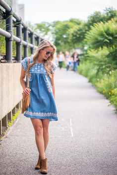 EMBROIDERED CHAMBRAY DRESS - Styled Snapshots