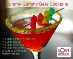 This makes the cocktail taste like gummy bears and uses teddy bears for a delicious and colourful garnish.   Combine the liquor, shake well in a cocktail shaker with ice and strain into a cocktail glass. Add gummy bears using toothpicks, or just drop them into the drink!  Buy sweets online @ lovisweets