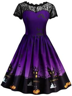 SHARE & Get it FREE | Halloween Vintage Lace Insert Pin Up Dress - Purple LFor Fashion Lovers only:80,000+ Items • New Arrivals Daily Join Zaful: Get YOUR $50 NOW!
