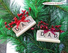 DAD Scrabble Ornament with Tile Tray - Stocking Stuffer, Tree Ornament, Package Tie-On - Your Choice of Red or Burgundy Berries and Bow