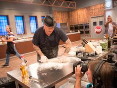 That floured bottle of rum was once Rodney's makeshift rolling pin until he found the proper tool for the job. #FoodNetworkStar