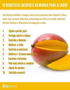 Clique na imagem ao lado e veja os 10 benefícios de manga para a saúde. #manga #infográfico #alimentação #alimento #fruta