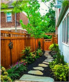14 Fantastic Side Yard Garden Pathway Landscaping Ideas The Effective Pictures . Small Backyard Landscaping, Backyard Patio, Corner Landscaping, Mulch Landscaping, Nice Backyard, Coastal Landscaping, Farmhouse Landscaping, Luxury Landscaping, Modern Backyard