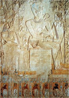 Relief decoration from the tomb of Kheruef showing dancers at Amenhotep III's heb sed, and Queen Tiye and Amenhotep III