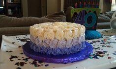 Shades of purple roses birthday cake
