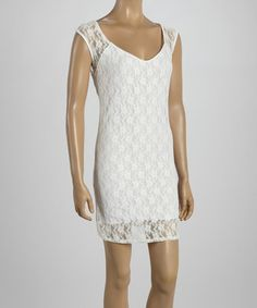 Look what I found on #zulily! White Lace Scoop Neck Dress #zulilyfinds