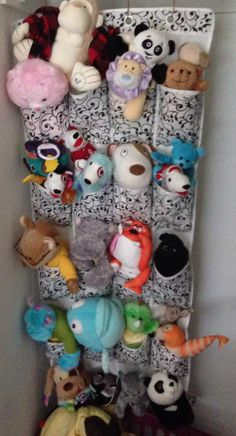 Shoe holder turned into stuffed animal holder! Stuffed Animal Holder, Shoe Holders, Wooden Clothespins, Picture Hangers, Pinterest Projects, Toy Boxes, Toys, Animals, Animales