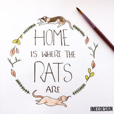Custom rat watercolour painting Home is where the by ImeeDesign
