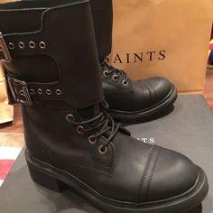 NWB All Saints Delphi combat boots in black EU37 Brand new All Saints combat boots with a heavy lug sole. On the box size EU37/ US 6.5 but fits for 7. All Saints Shoes Combat & Moto Boots