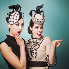 Black and white LaFayette beret (left) and black and white headpiece (right) | Designed for Hugo Boss, Spring 2013 | Louise MacDonald, Melbourne