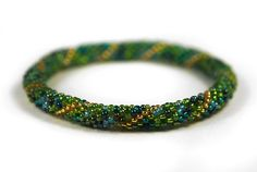 Roll On Beaded Bracelet, Nepal Bracelet, Beaded Crochet Rope, Checz Glass Seed Bead, Mix, Green, Golden, Free Shipping by Osting on Etsy