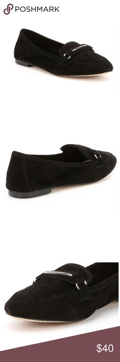 GIANNI BINI SUEDE MOC Black suede leather driving moccasins.  The suede is so soft it's like velvet. Silver buckle. Very comfortable. New with box Gianni Bini Shoes Flats & Loafers