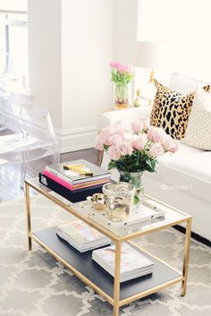 Keep your living room bright and chic with lucite and gold accents.