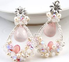 Bridal Cluster Woven Earrings in White and Blush Pink by SolBijou, $120.00