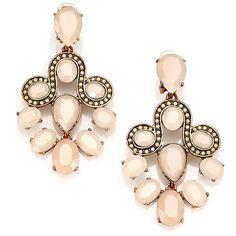 Oscar de la Renta Jeweled Scroll Chandelier Earrings