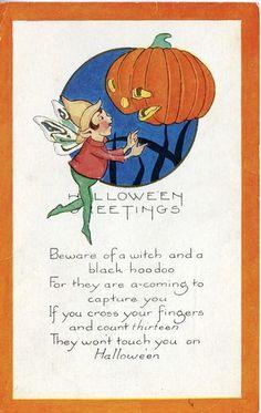 Halloween vintage postcard.